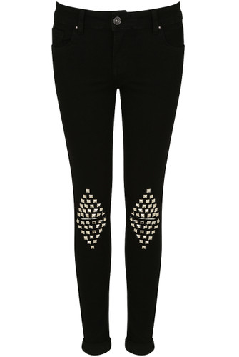 Light Green Knee Studs Ripped Jeans - Buy Fashion Wholesale in The UK