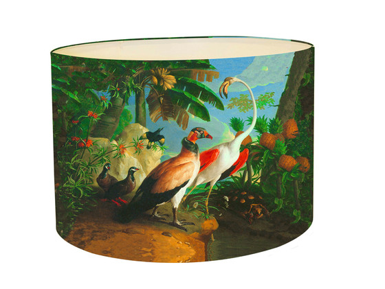 Lampshade jungle bird with tropical fruit kerrie brown mozeypictures Choice Image