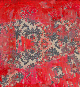 Fabric - Damask in Distress _ Oh so Red