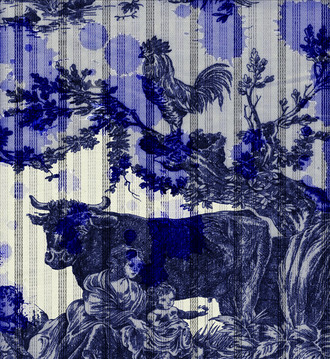 Fabric -Ink Blot Toile _ Cow