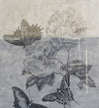 Fabric - Botanical Graffiti - Blue Butterfly Day