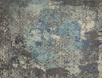 damask in distress hand knotted rug