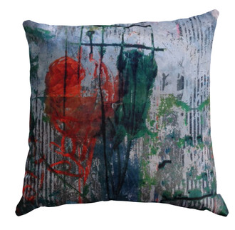 Velvet Cushion Cover - Botanical Ticking - Smudgy Rose