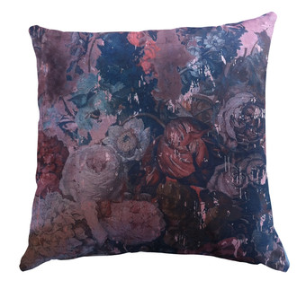 Velvet Cushion Still Life with Flowers Pink