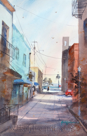 """Original Watercolor Painting """"River District Alley"""""""