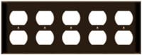 Duplex Receptacle Wall Plate 5-Gang Brown