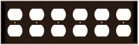 Duplex Receptacle Wall Plate 6-Gang Brown
