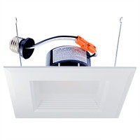 "6"" LED Recessed Retrofit Kit White Square Baffle Dimmable 3000K"