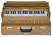 MAHARAJA MUSICALS Harmonium No. 188 - Folding, Safri, A440, 42 Keys, Natural Color, Multi-fold Bellow, Well-tuned With Coupler