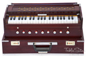 MAHARAJA MUSICALS Harmonium No. 186 - Folding, 9 Stop, Rosewood, Safri, Well-tuned, A440, 42 keys, With Coupler