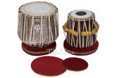 LALI & SONS Brass Dhama Jori, Floral Brass Dhama, Sheesham Wood Dayan - Tabla No. 527