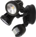 Martec Fortress Dbl Spot Sensor LED 13W 3000K Black MLXF302MS