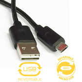 Double-Sided Reversible Micro B USB to USB Sync & Charging Cable Cord
