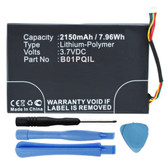 2150mAh B01PQIL Battery for Barnes & Noble Nook Glowlight WiFi BNRV500
