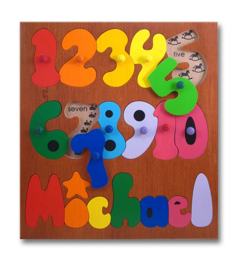 Wooden Personalized Name Puzzles Counting Numbers Puzzle