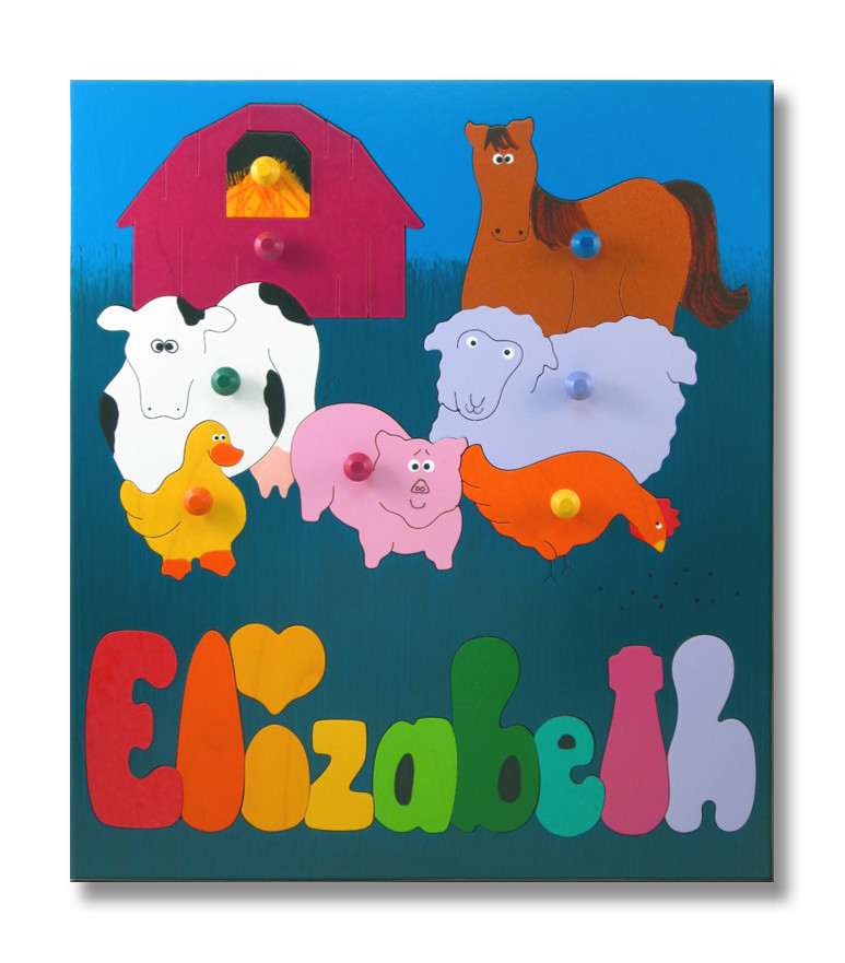 Name Puzzles Farm Animals Barnyard Custom Name Puzzle