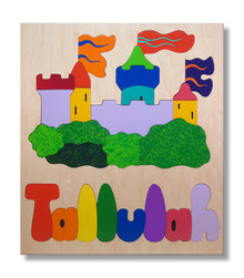 Prince and Princess Castle Wooden Name Puzzle for Child