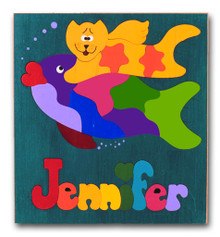 Personalized Wooden Name Puzzle Kitty Cat and Fish