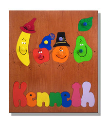 Six fruity friends for your child to play with in this Wooden Name Puzzle!