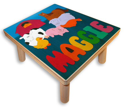 Name Puzzle Stool | Farm Animals