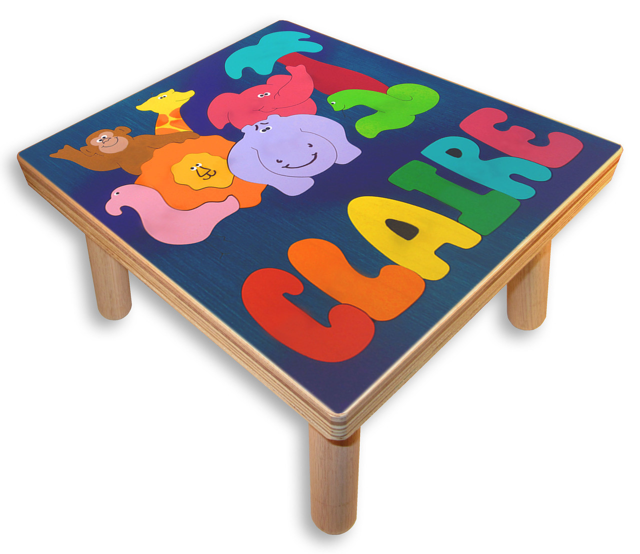 Name Puzzle Step Stools African Zoo Animals Step Up Stool