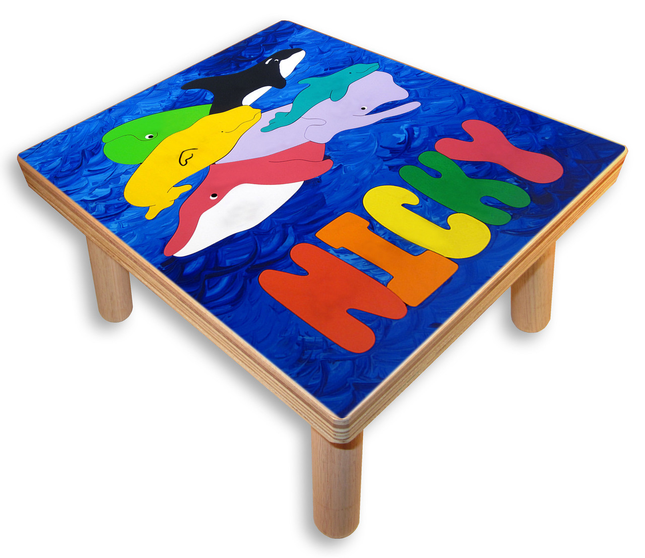 Step Stool With Name Ocean Whales Childs Furniture Stool