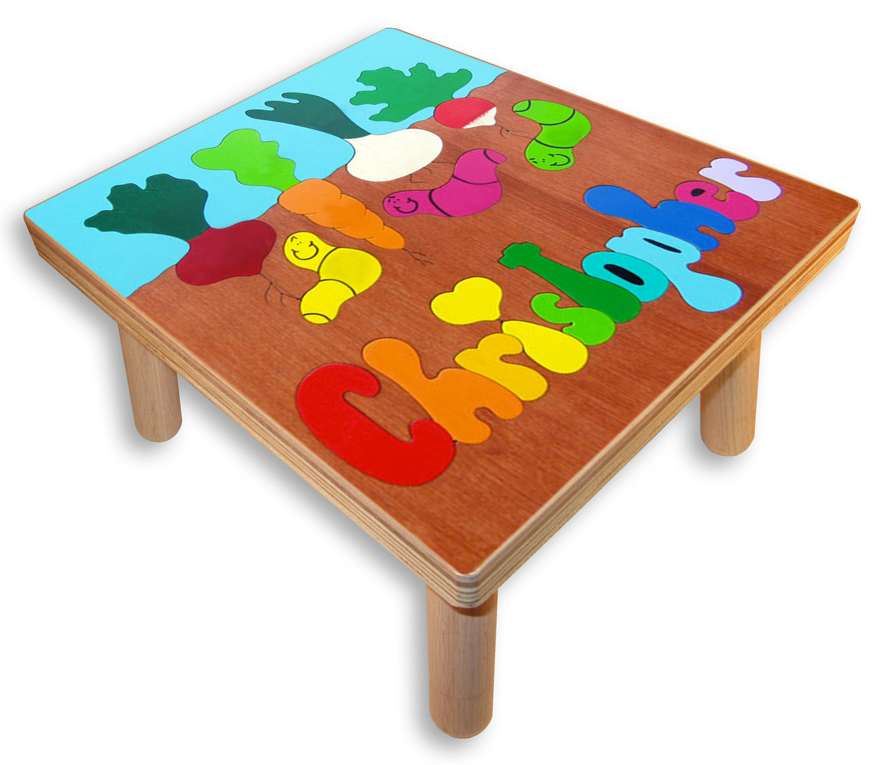 Name Puzzle Stool Gardening With Worms Play Table For A