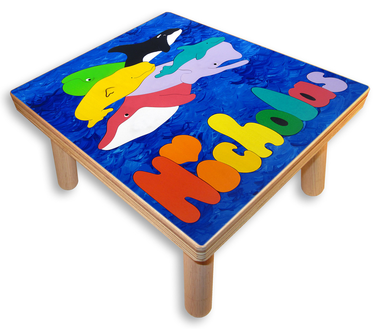 Name Puzzle Stool Ocean Whales Step Stool