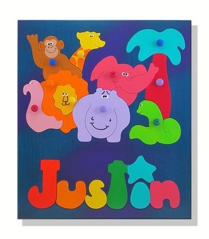Wooden Personalized Name Puzzles African Zoo Animals Puzzle