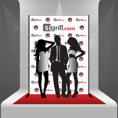 Step and Repeat 6'x8' + Stand + Red Carpet - Sign11.com