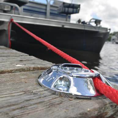 """Dock and Boat Cleat, for 1/4"""" - 1/2"""" lines Mount on your dock or boat for a low profile, secure mooring. For freshwater use only."""
