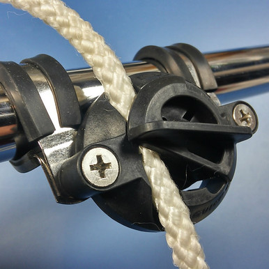 "Fender Clip by Quick Cleat.   No-knot solution for easy fender adjustment. Fits round rails.  Use with 1/4"" rope.   No drilling required."