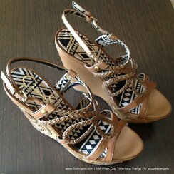 Jessica Simpson Sandals Dây Nâu Đé Xuồng-38.5