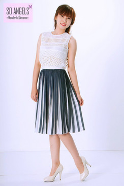 Maria Hemera Paris Set Váy Áo Midi Sọc Trắng Xanh