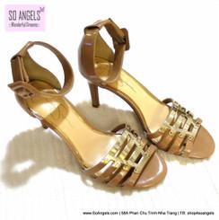 Jessica Simpson Sandals Cao Gót Dây Metal Gold-37.5