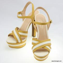 Jessica Simpson Quai Chéo Chấm Bi Vàng-38.5