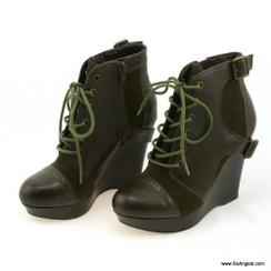 Gianni Bini Boot Cao Gót Rêu Dây-35.5
