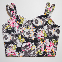 The Vratim Side Straps Crop Top - Black Floral front
