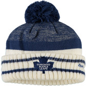 Toronto Maple Leafs Reebok Blue Center Ice Cuffed Pom Knit Hat