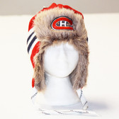 Montreal Canadians red Reebok Blue Center Ice FUR TROOPER Knit Hat