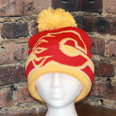 Calgary Flames Reebok hockey red gold Center Ice Cuffed Pom Knit Hat