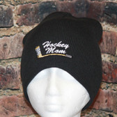 Hockey Mom with embroidered stick logo Black Beanie Toque