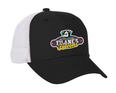 Filane's Falcons Hockey Logo - Black with white mesh snap back cap