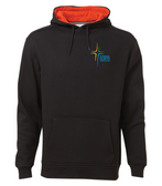 Black with orange hoodie. Embroidered full colour logo on left chest