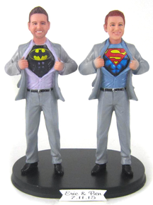 Quick Ship Superhero Grooms Wedding Cake Topper