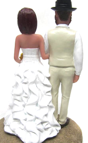 Custom Country Chic Wedding Cake Topper painted in your choice of colors with your customized heads - faces and hairstyles.