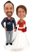 Personalized hockey wedding cake topper - Columbus Blue Jackets and Philadelphia Flyers