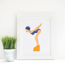 Sport Art Girl Swimmer 12 x 16