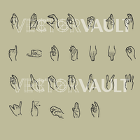 vector sign language alphabet
