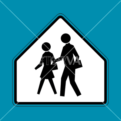 vector school crossing sign